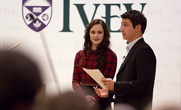 Virtue and Moir dazzle Ivey students with off-the-ice performance