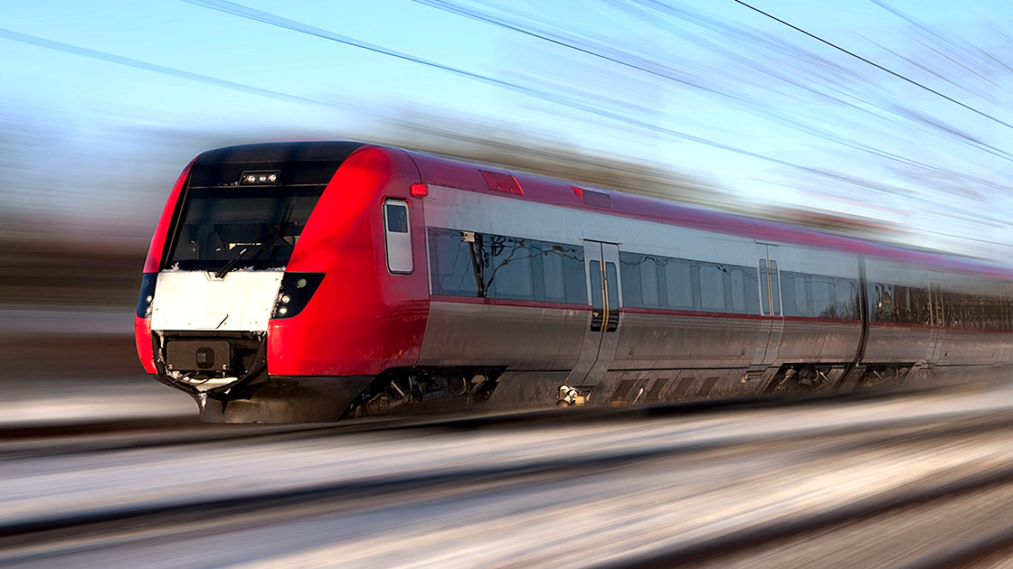Image of high-speed train in motion
