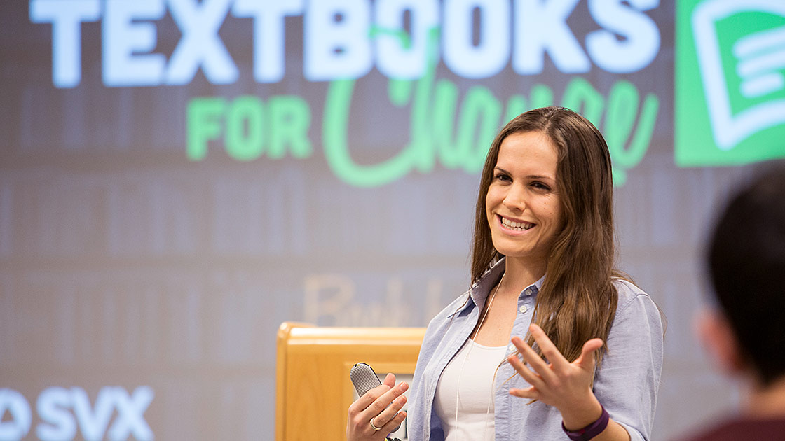 Amanda Armstrong from Textbooks for Change speaks to students