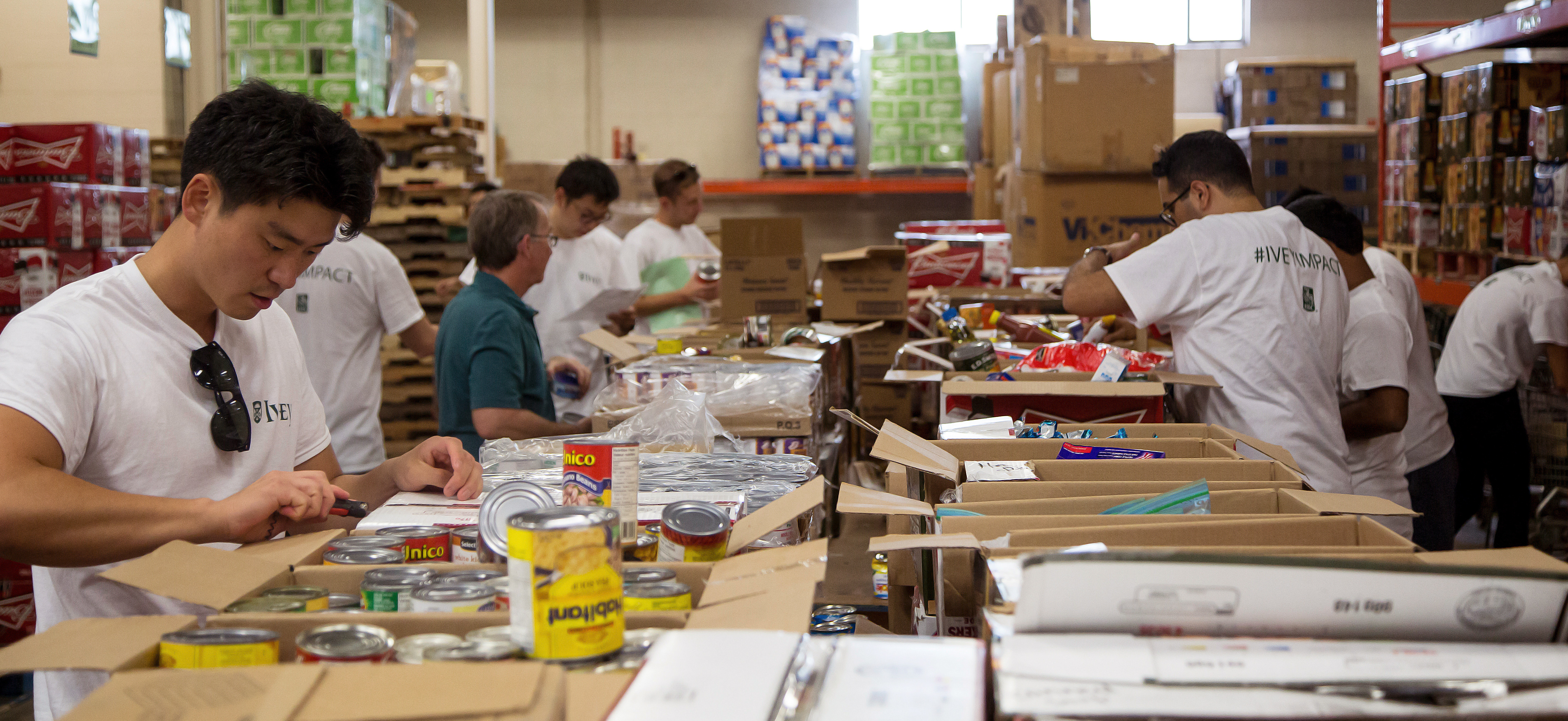 MBA students assembling food hampers at the London Food Bank