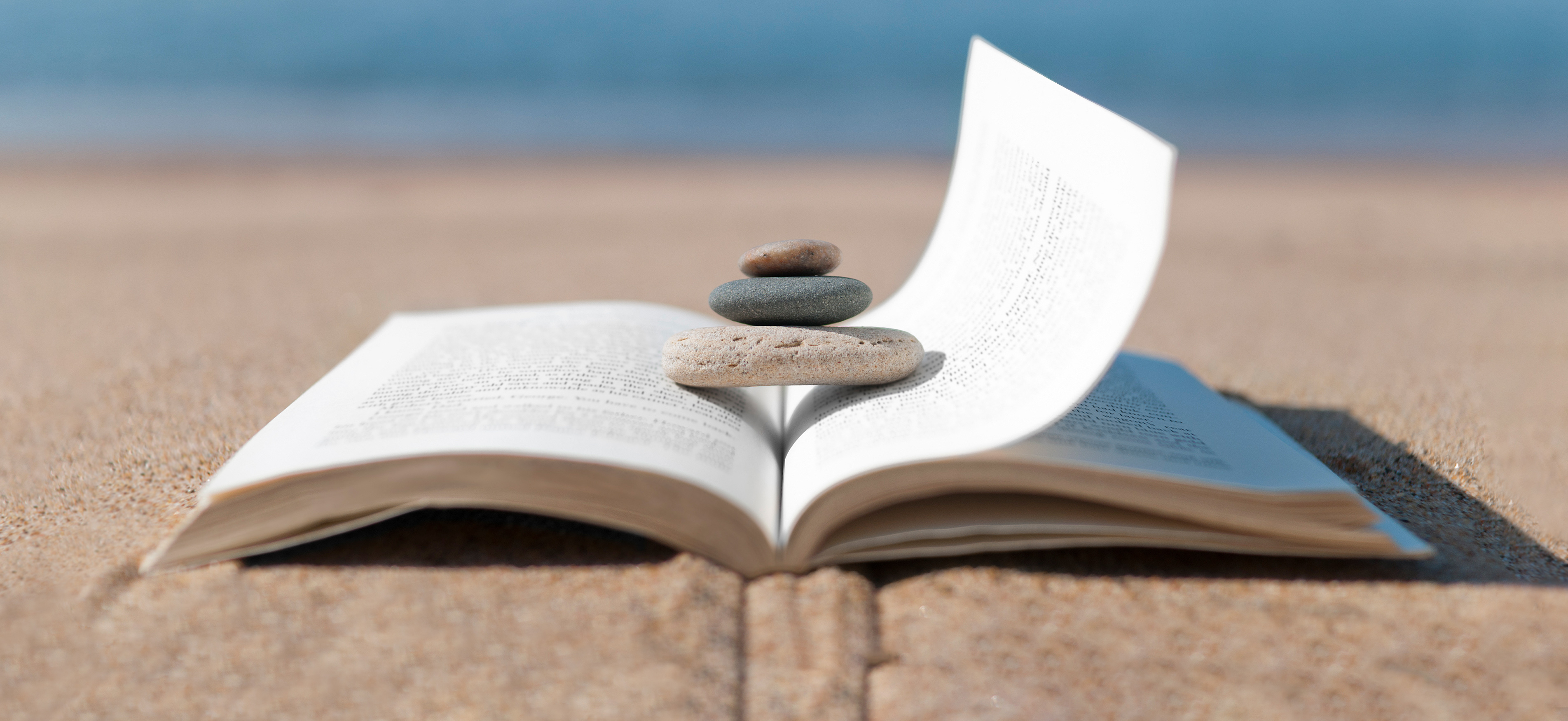 An open book on a beach with a few rocks placed on the pages.