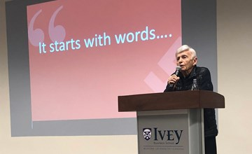 Holocaust survivor Max Eisen shares his story with Ivey students