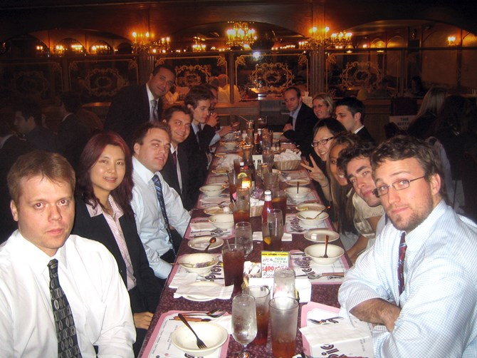 Students enjoy lunch at one of Mr. Buffett's favourite restaurants, Piccolo Pete's