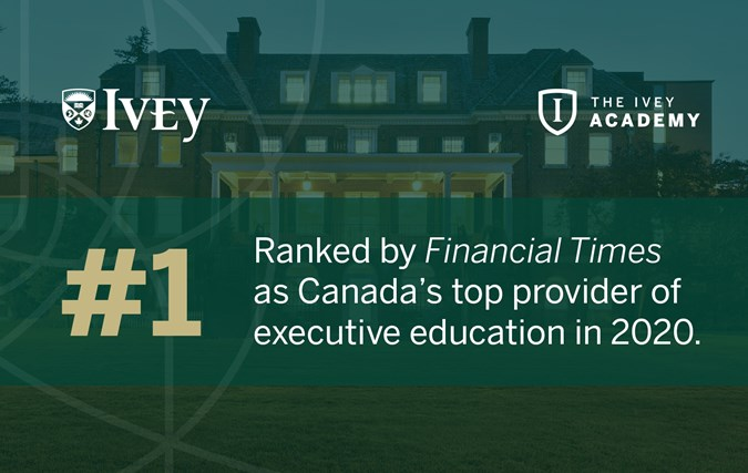 Ivey Academy Ranked #1 in Canada for Executive Education