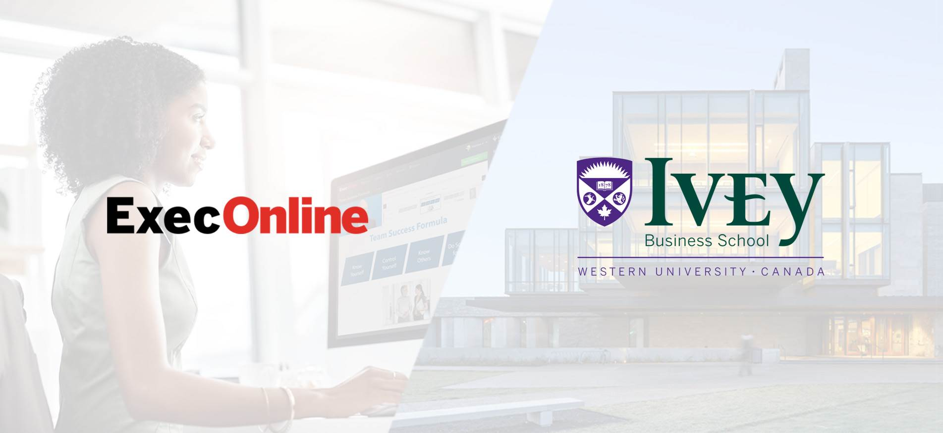 Split image: Woman looking at online program on laptop (left) and exterior of Ivey Business School building (right)