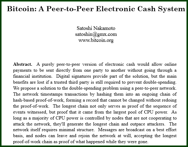 The first page of the Bitcoin: A Peer-to-Peer Electronic Cash System paper