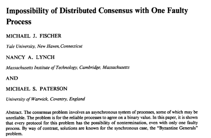 Impossibility of Distributed Consensus with One Faulty Process cover