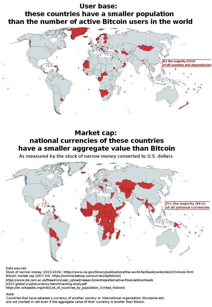 World maps showing user base vs. market cap