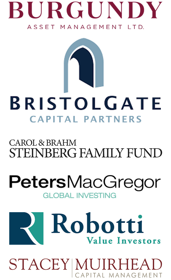 Group of logos for Burgundy, BristolGate Capital Partners, Carol & Brahm, PetersMacGregor, Robotti and Stacey Muirhead