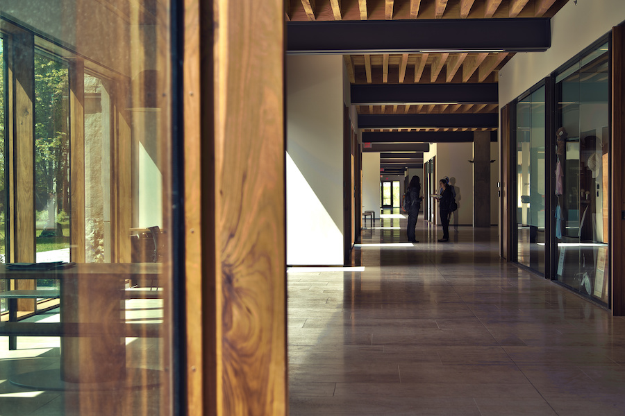 Image of a corridor in the Ivey building, showing the wood construction materials